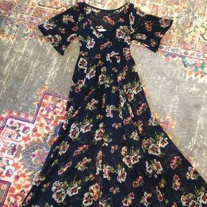 Abercrombie short sleeve, high low, maxi dress.